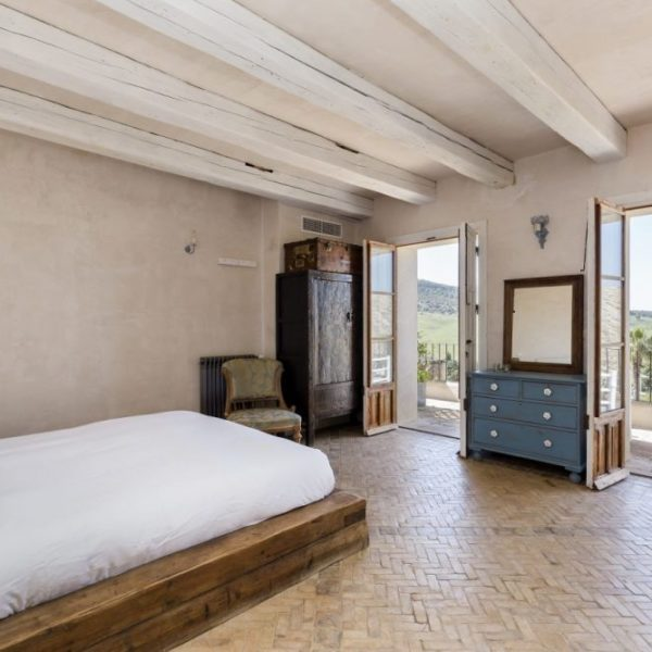 Bedroom 5 and terrace overlooking countryside