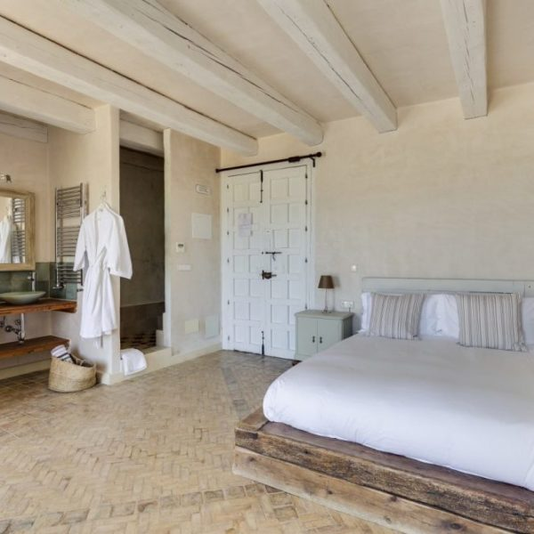 Spacious bedroom and bathroom