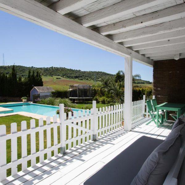 Villa porch pool and garden