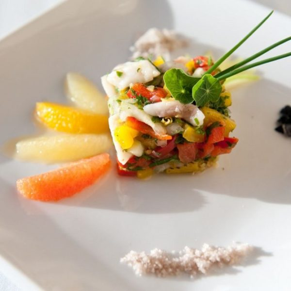 Fish with citrus fruits