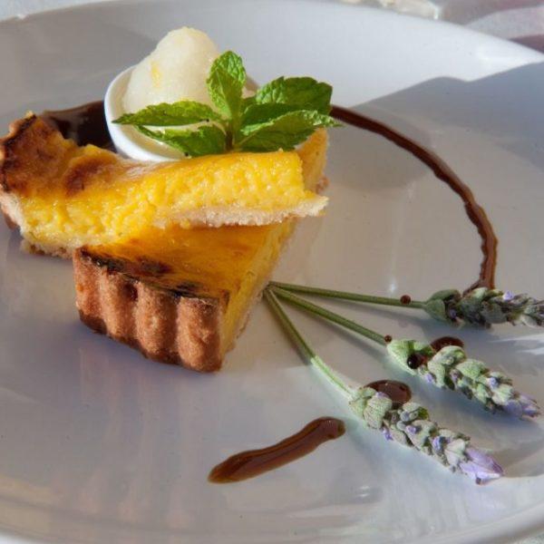 Lemon tart with lavender