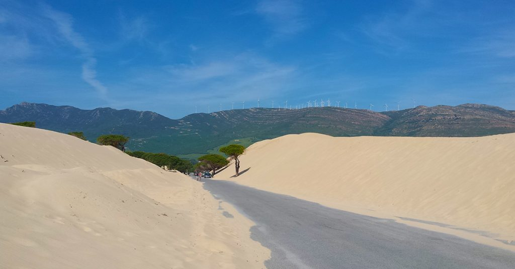 sand dunes on road side in Bolonia